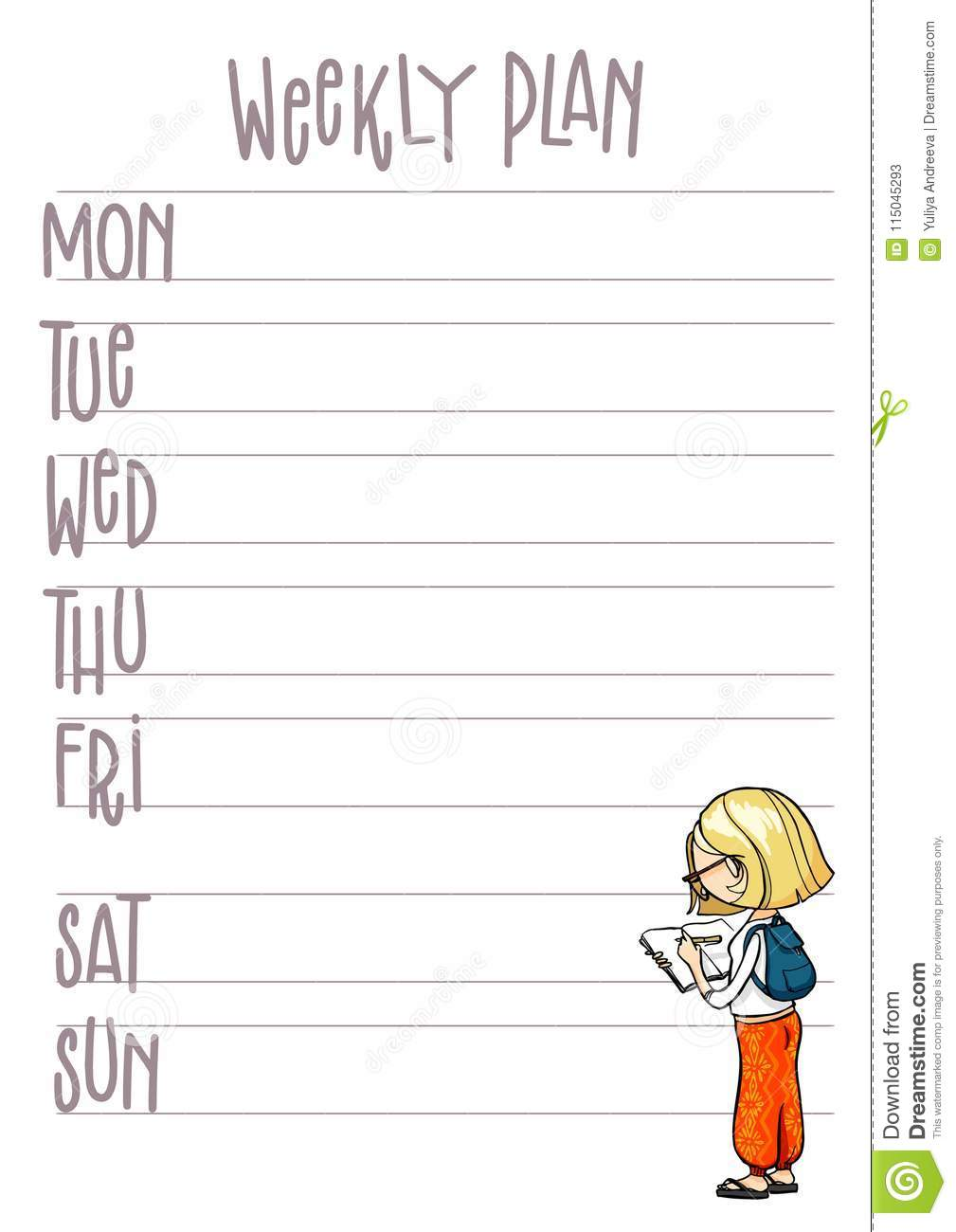 Weekly Plan  Planner With Cute Cartoon Character  Vector
