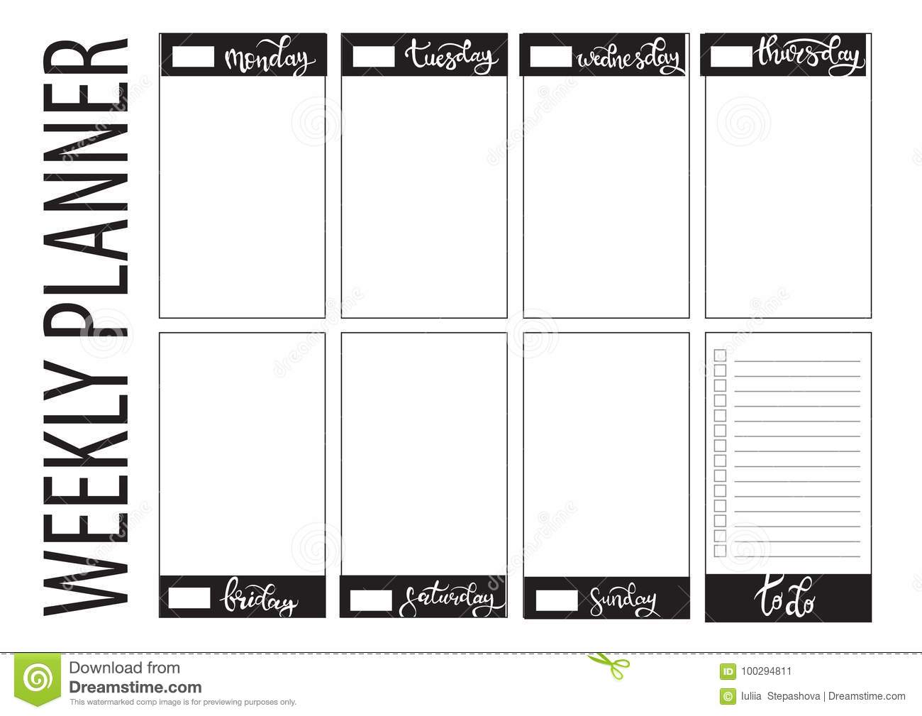 Weekly Planner Blank Template Stock Vector Illustration Of