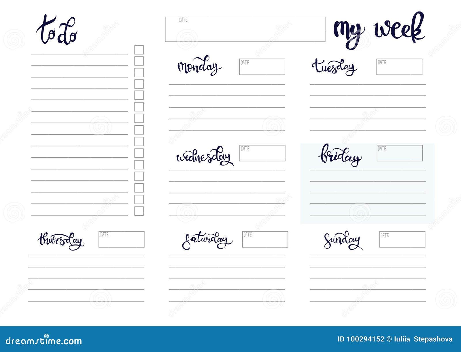 weekly planner blank template stock vector