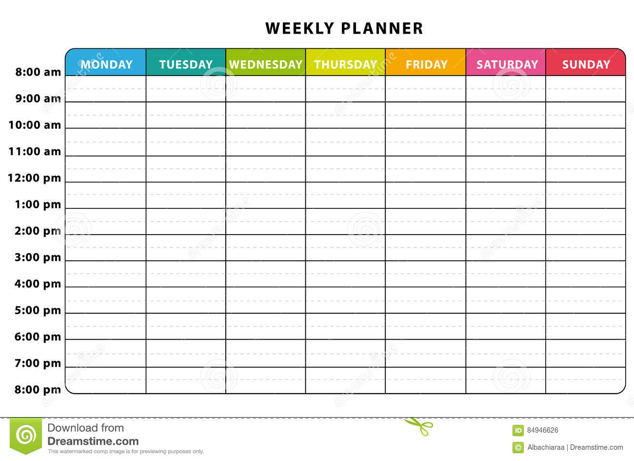 week planner by hour