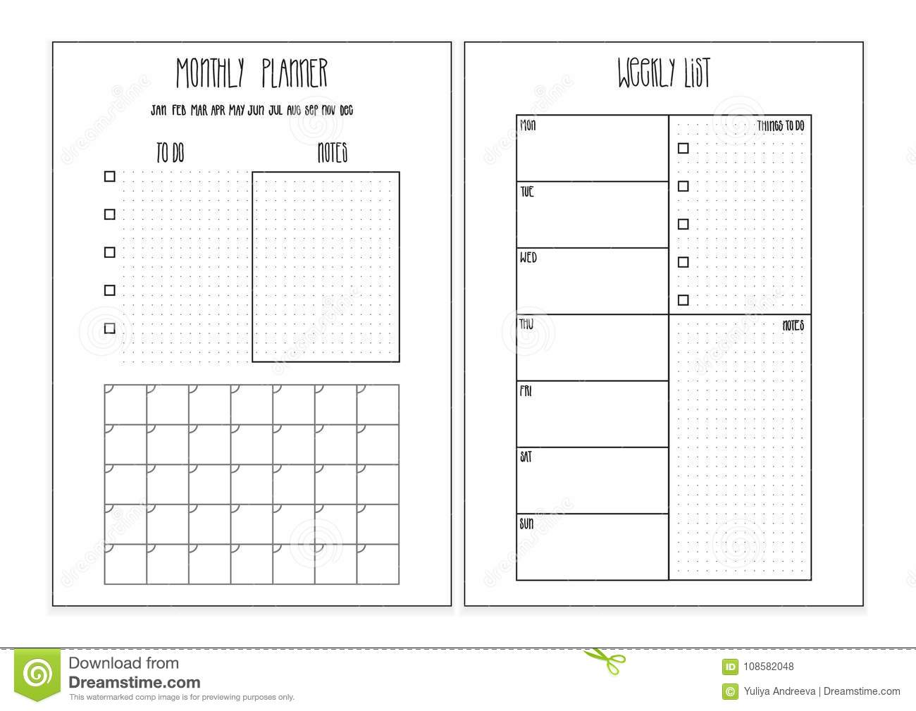 weekly planner  monthly planner printable pages  vector