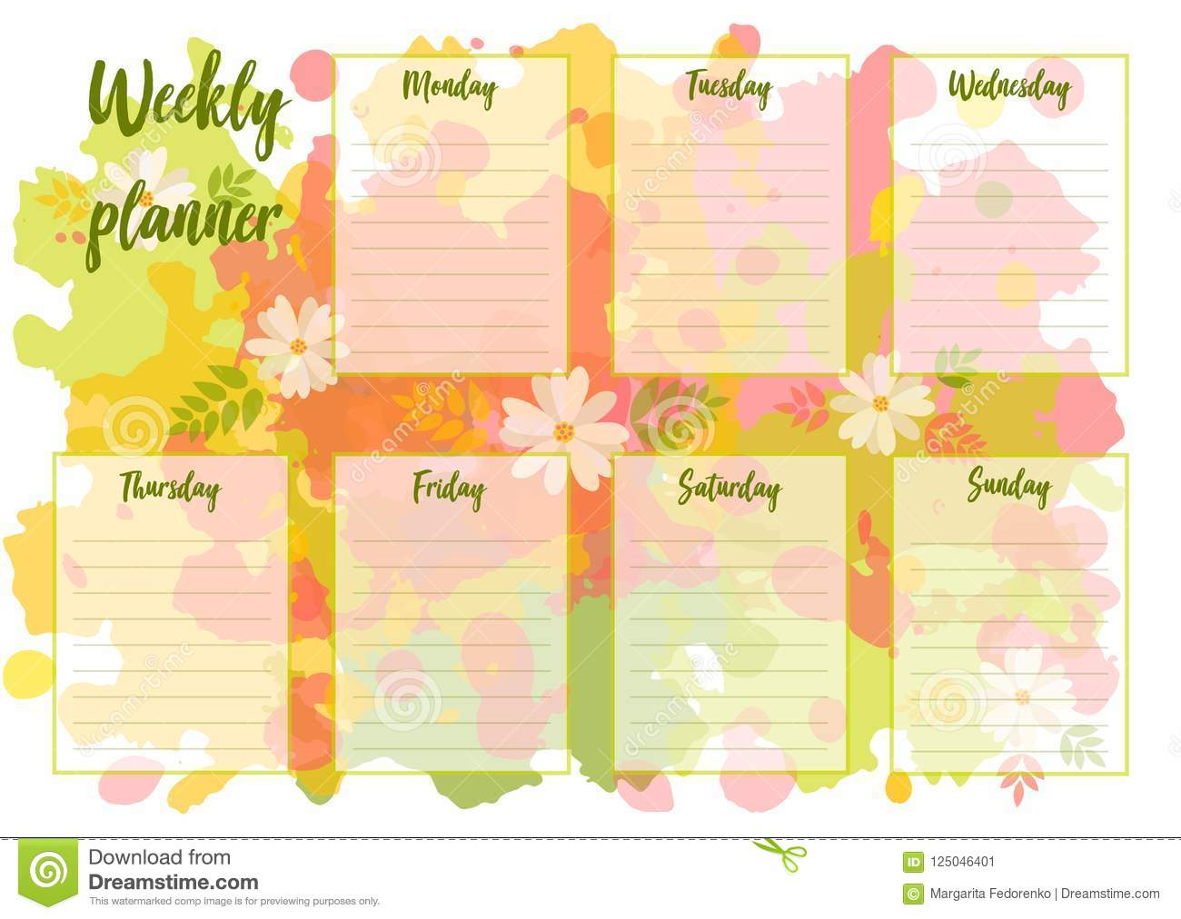 graphic about Cute Weekly Planners named Weekly planner inventory vector. Case in point of progressive - 125046401