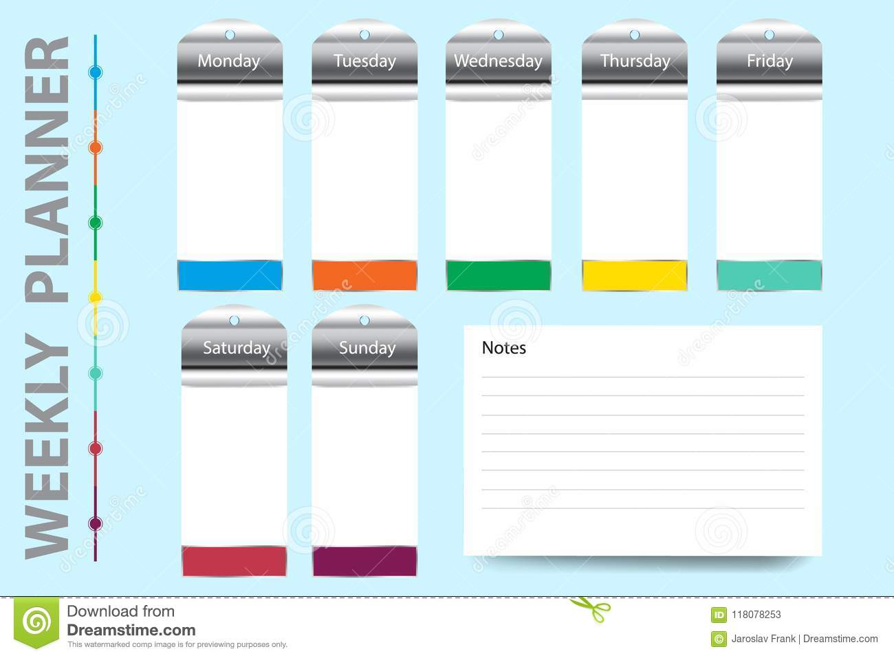 weekly planner vector with metal labels on hanging charts stock