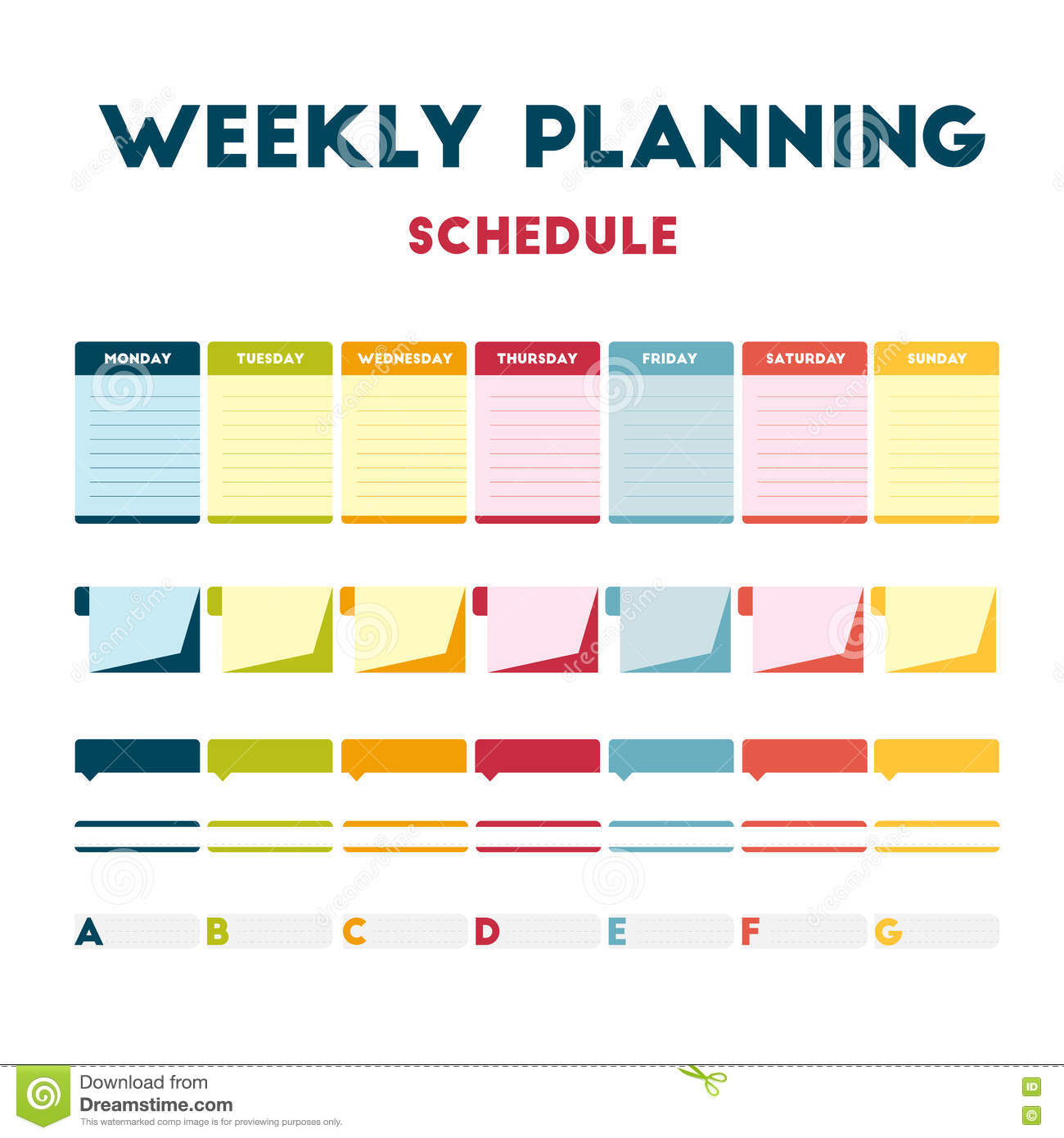 Hacer Plano Online Weekly Planning Schedule Stock Vector Illustration Of