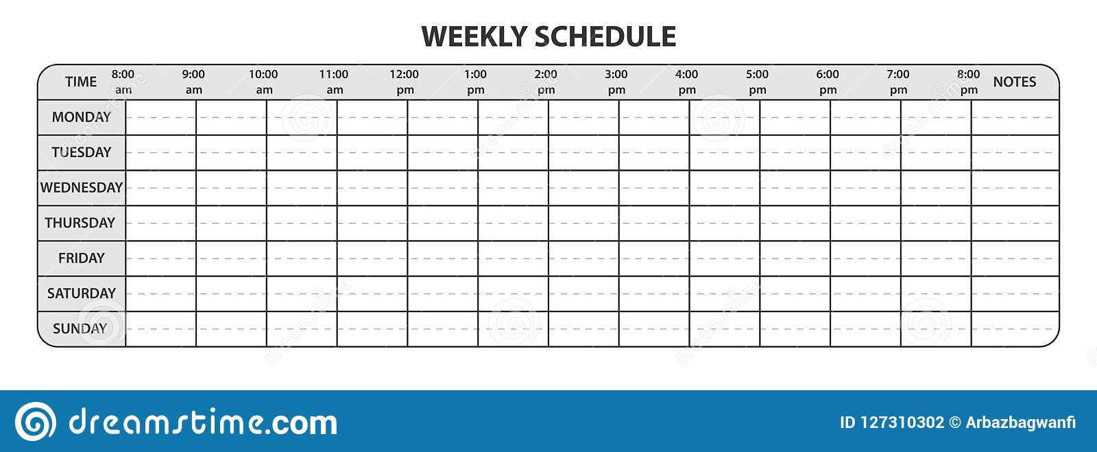 weekly schedule with working hours and extra space for notes stock