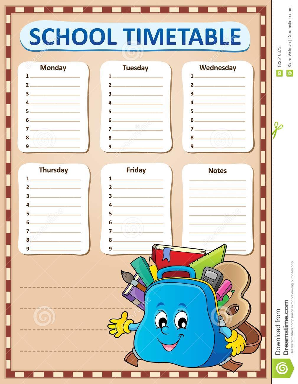 weekly school timetable template 4 stock vector illustration of