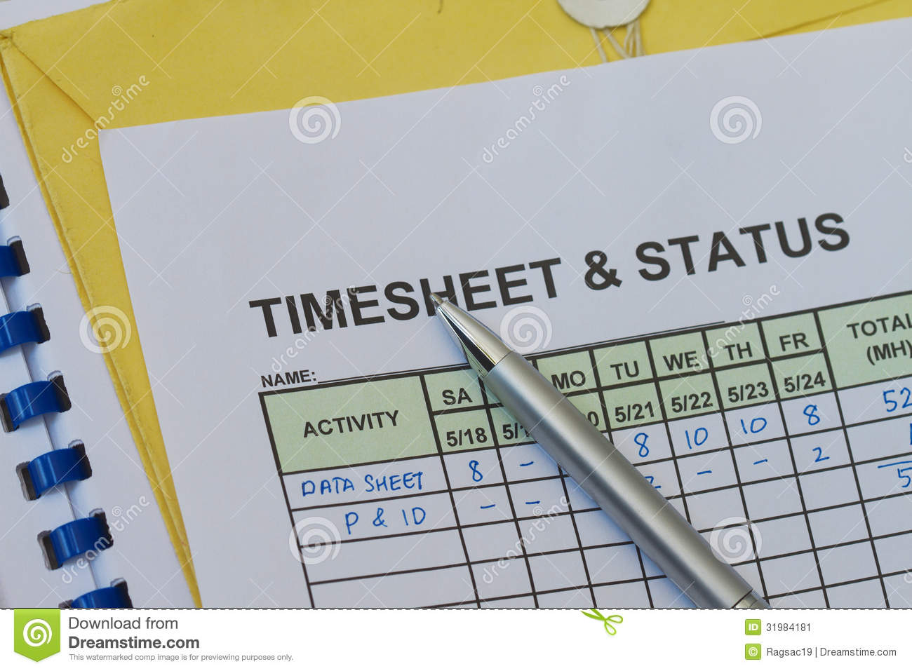 weekly timesheet stock image image of sheet hours clock 31984181