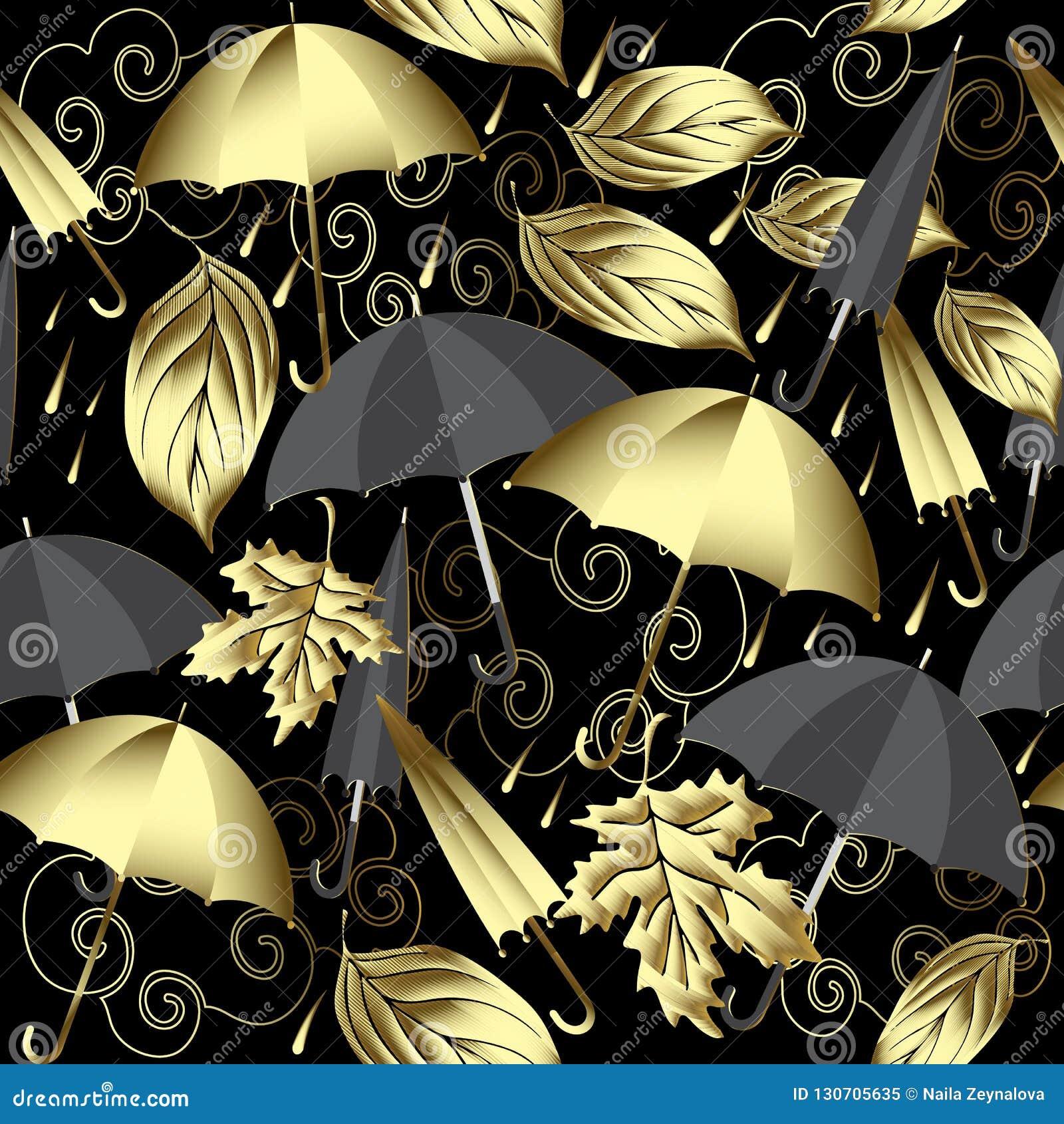 Weer 3d vector naadloos patroon De herfst abstracte goud en bla