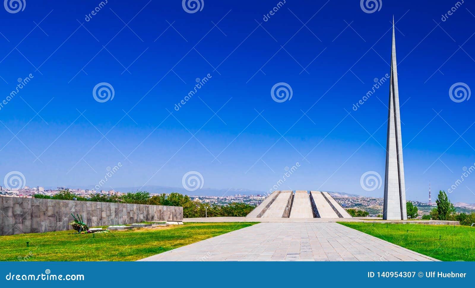 Weergeven op Armeense Volkerenmoord herdenkings complex in Yerevan, Armenië