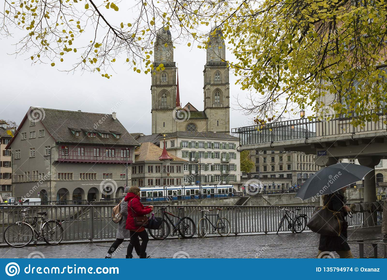 Weergeven van de oude stad van Grossmunster en van Zürich van Limmat-rivier