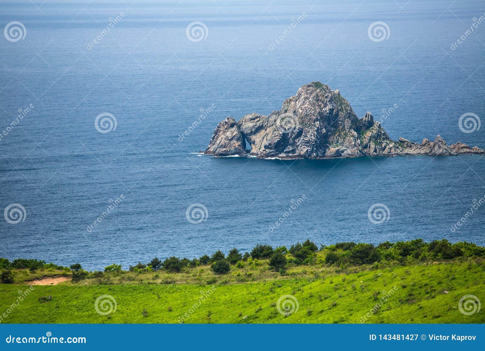 Weergeven van een klein rotsachtig eiland in het Japanse Overzees