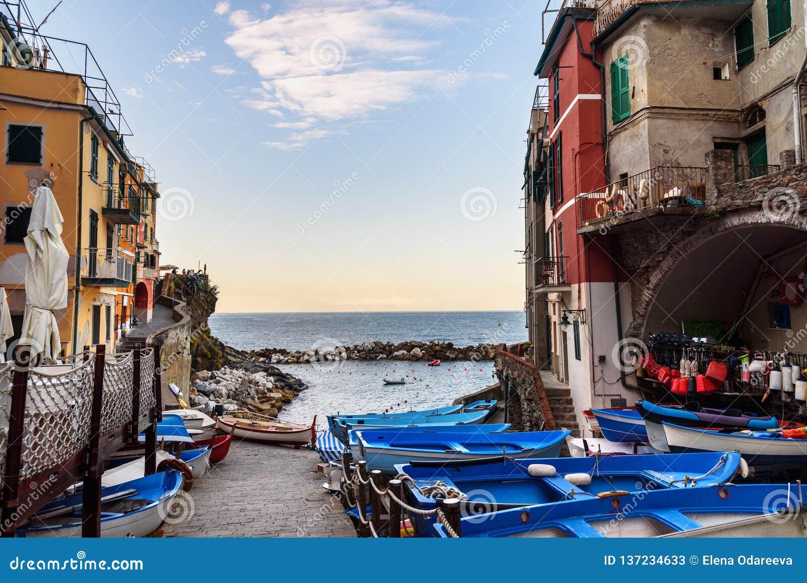 Weergeven van smalle straat met boten en overzees in Riomaggiore, Cinque Terre Italië