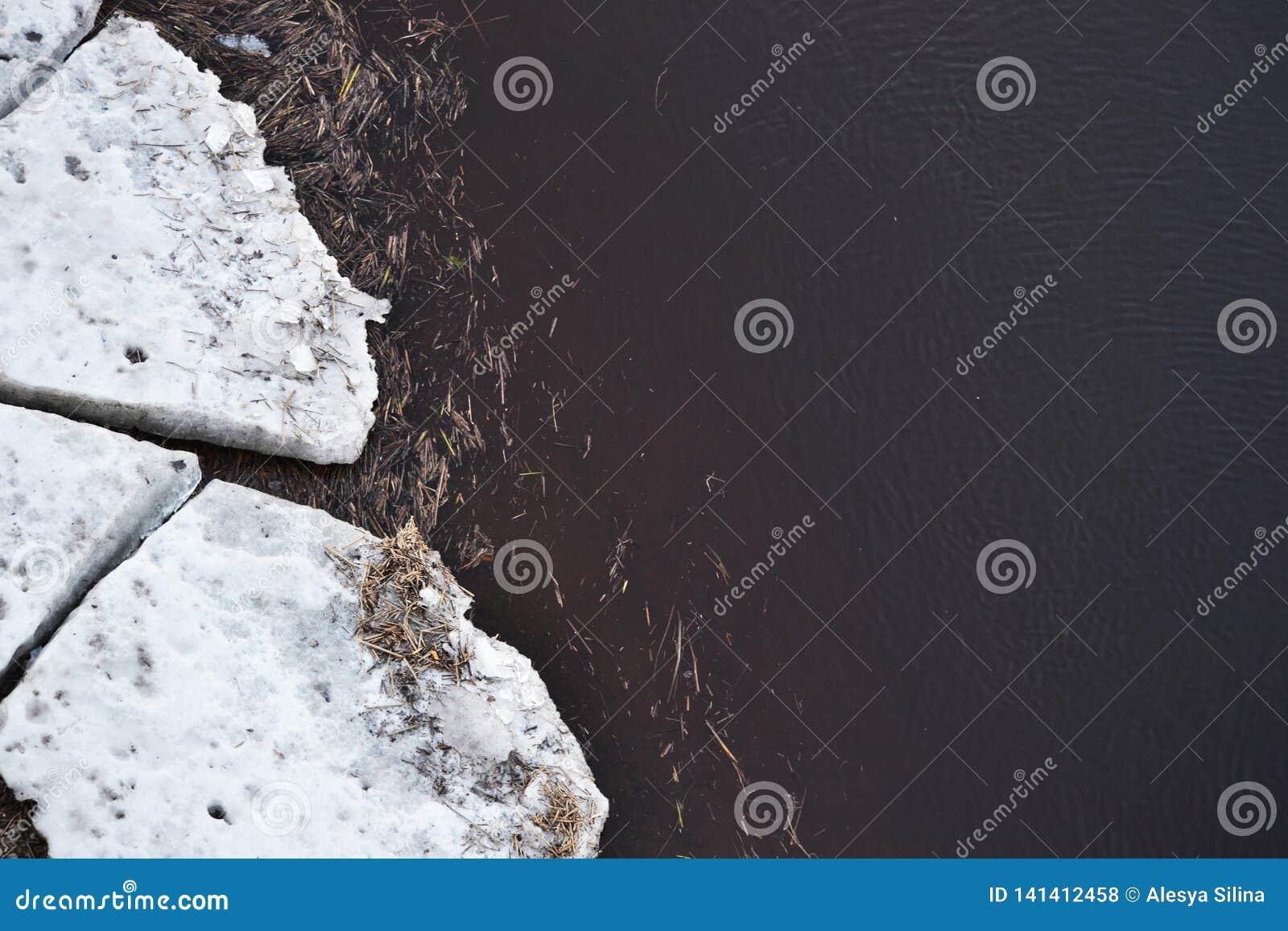 Weergeven van smeltende ijsijsschollen in modderig rivierwater met huisvuil in de lente