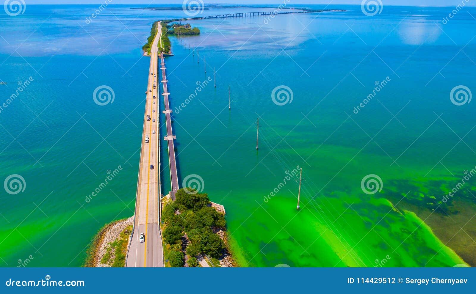 Weg aan Key West over overzees en eilanden, de sleutels van Florida, de V.S.