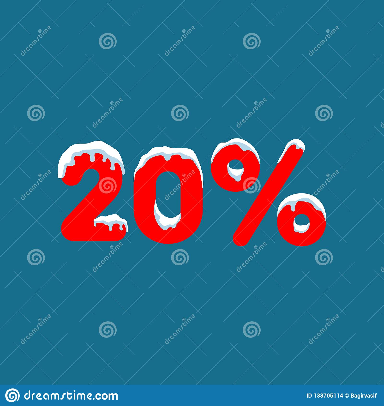 20 weg Ein Rabatt von zehn Prozent Zahlen im Schnee Winterschlussverkauf, Weihnachtsverkauf, Feiertagsverkauf Flache Vektorillust