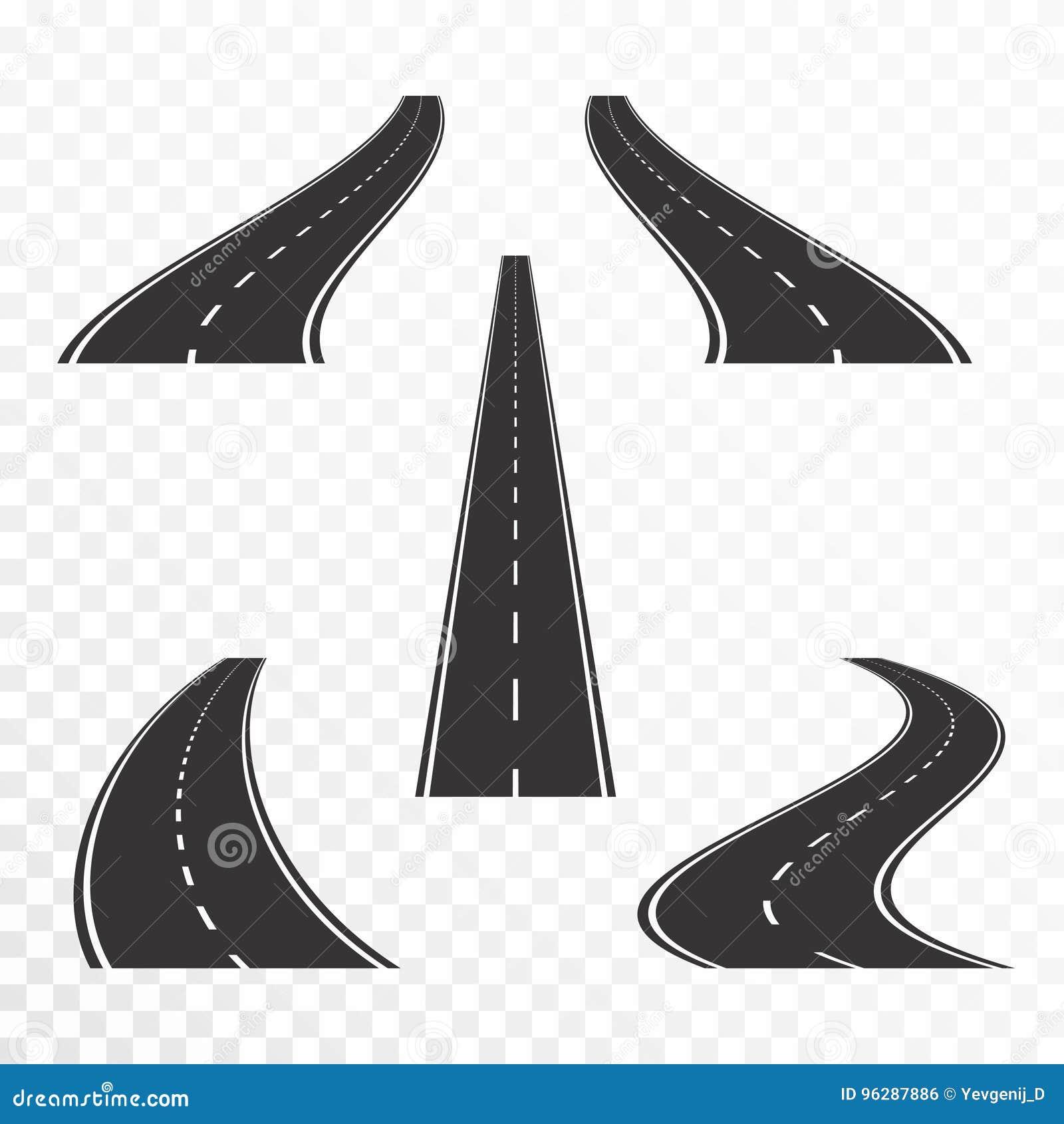 Wegen met noteringen Rechte en gebogen asfaltwegen in perspectief