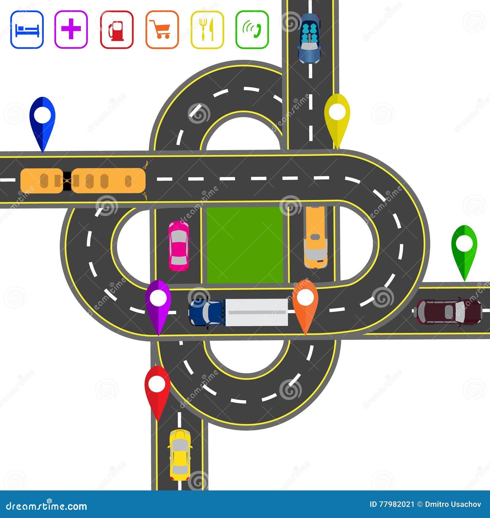 Weginfographics Genoteerd op diverse objecten kaart Abstracte vervoershub De kruisingen van diverse wegen