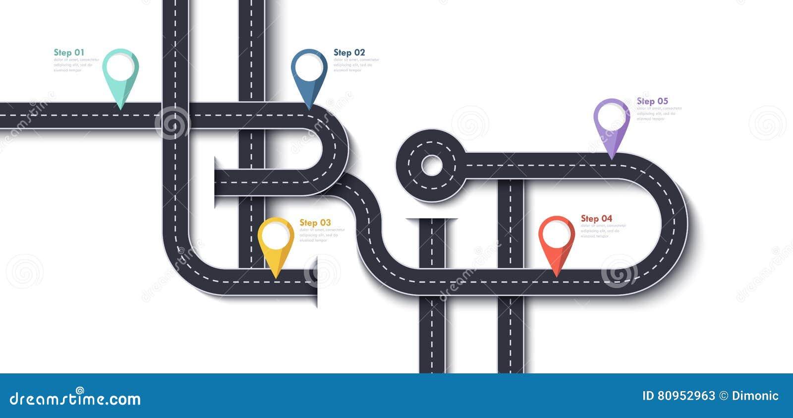 Wegreis en Reisroute Het bedrijfs en Reisontwerpmalplaatje van Infographic met speld-Wijzers en plaats voor uw gegevens