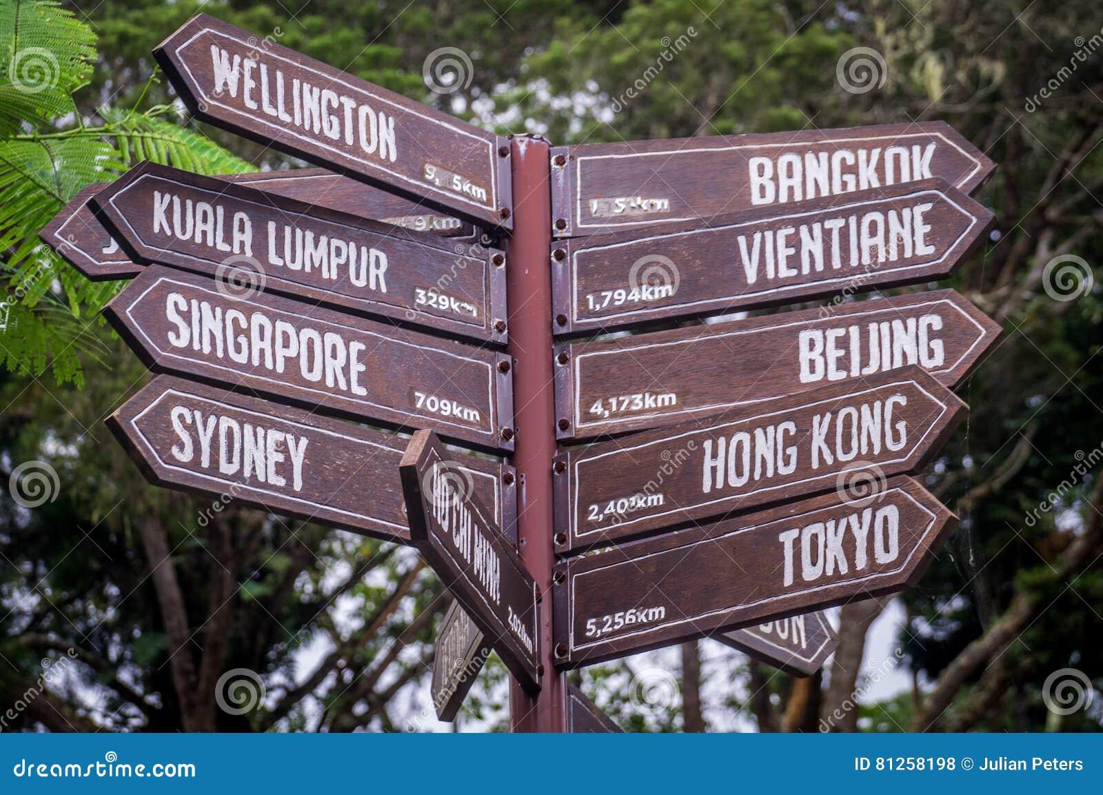 Wegweiser, der in Richtung zu den Reisezielen in Asien und in Australien zeigt