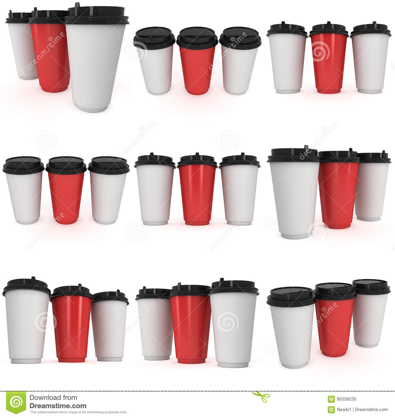 Wegwerfbare Kaffeetassen Becher des leeren Papiers