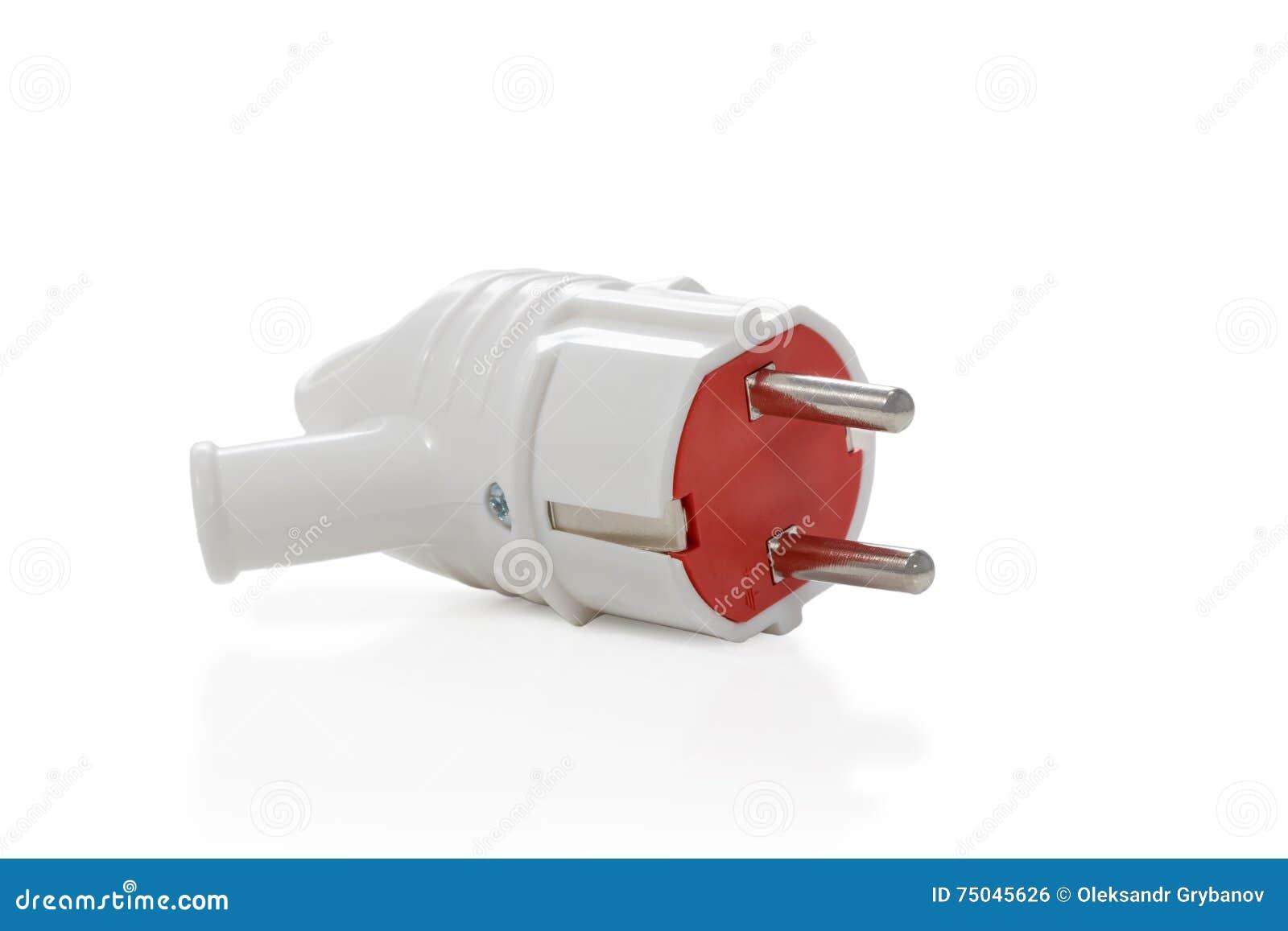 Weiß-roter Elektrischer Stecker Stockfoto - Bild von plastik ...