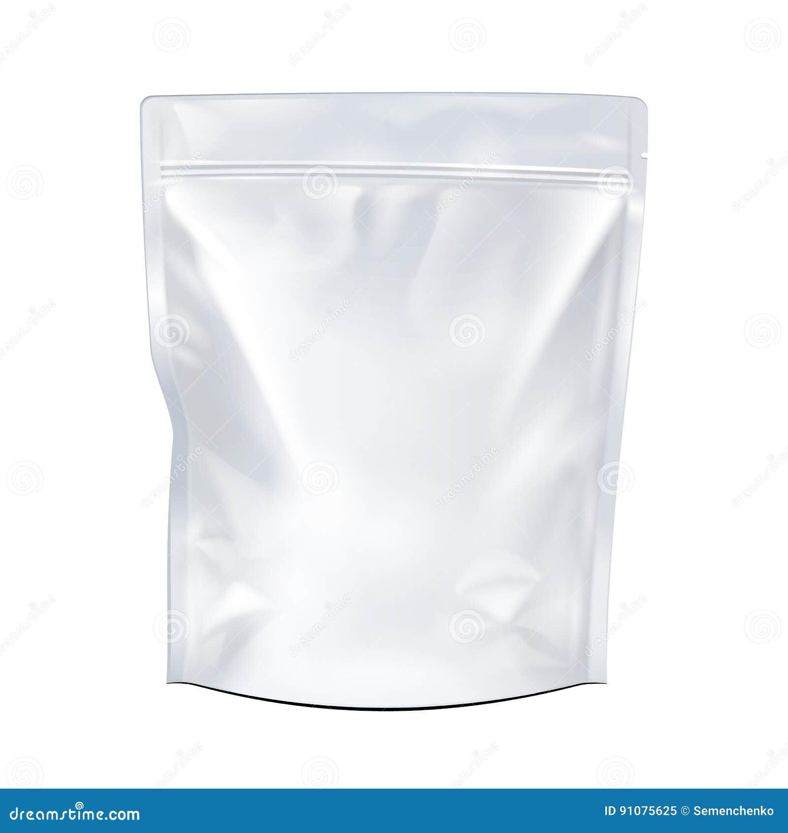 Weiß-Spott herauf leeres Folien-Lebensmittel oder Getränk Doypack-Taschen-Verpackung Plastiksatz bereit zu Ihrem Design Vektor ep