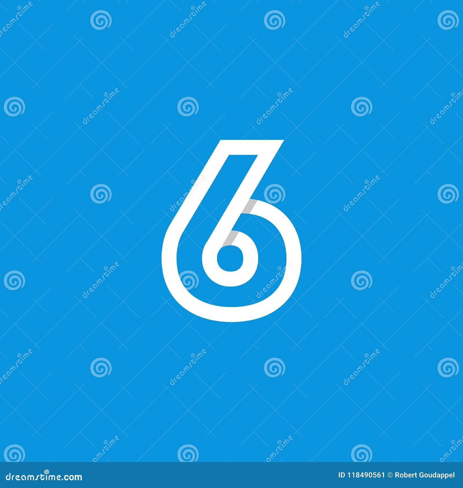 Weiß Vektor-Logo Numbers 6
