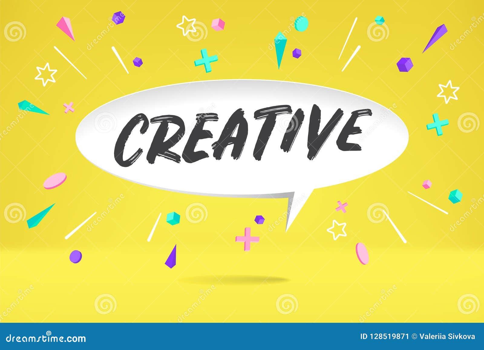 Weißbuchblasenwolke mit dem Text kreativ für Gefühl, Motivation, positives Design Plakat mit Wolkengespräch, Text