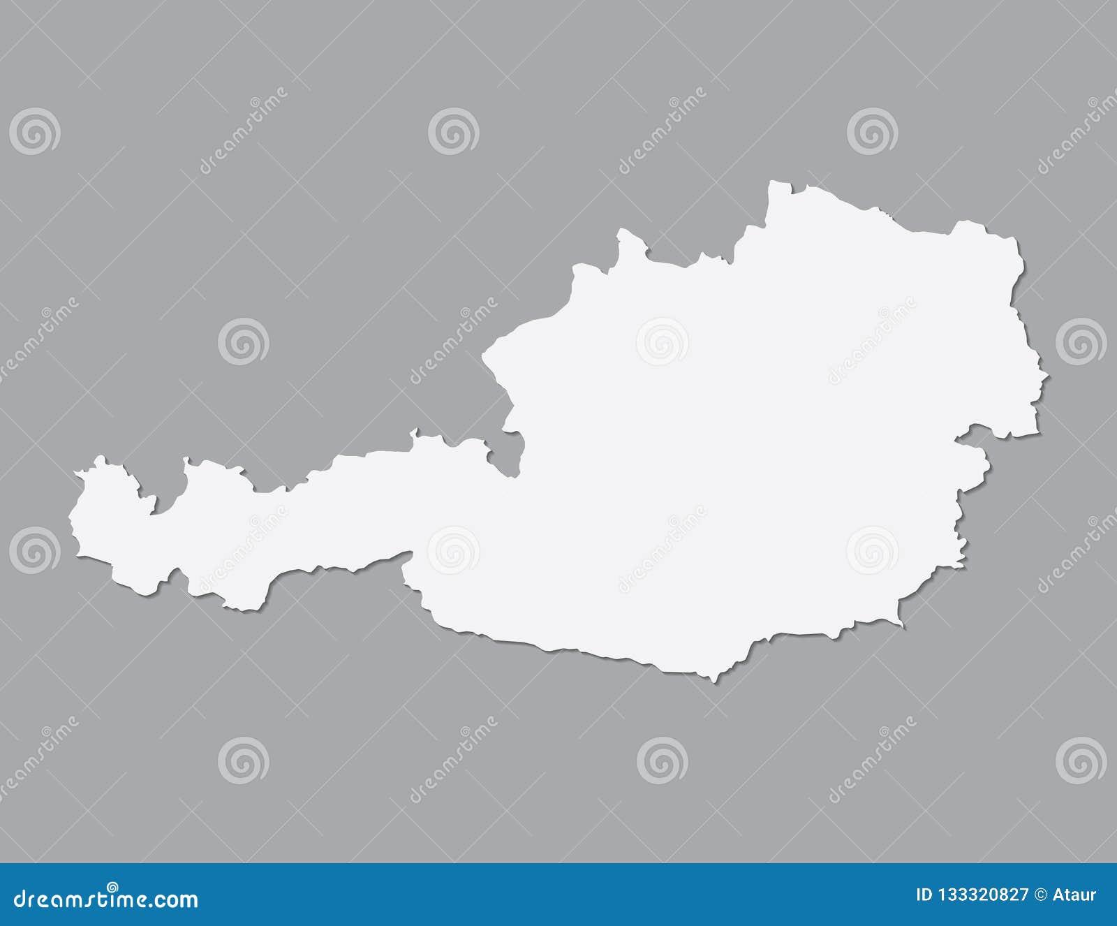 Weisse Osterreich Karte Unter Verwendung Der Einzelnen Grenze Auf