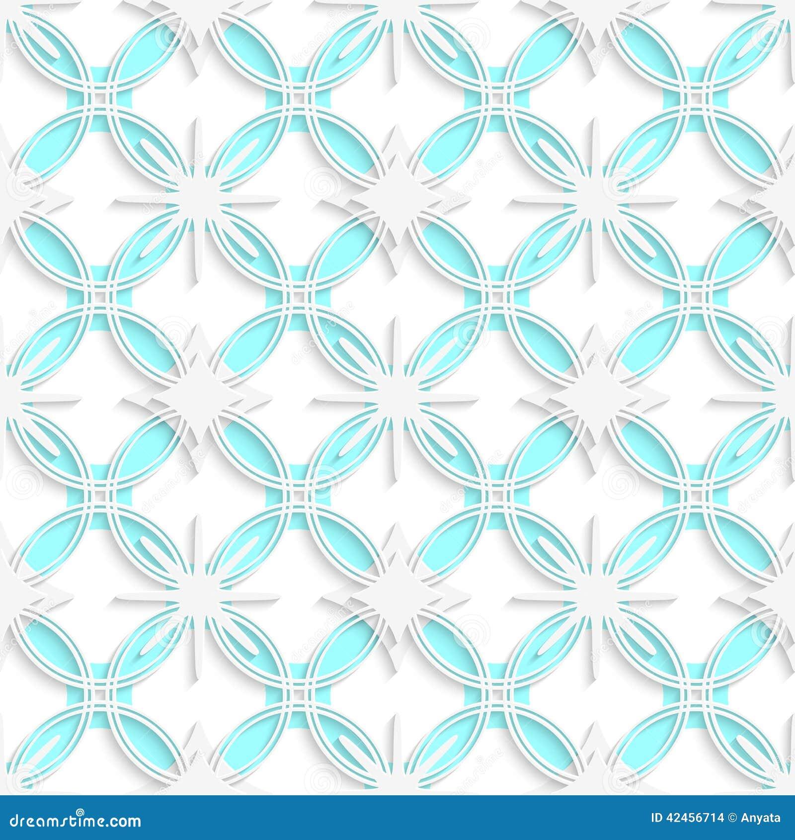 Weiße ausführliche Verzierung überlagerte auf den cyan-blauen nahtlosen Kreisen