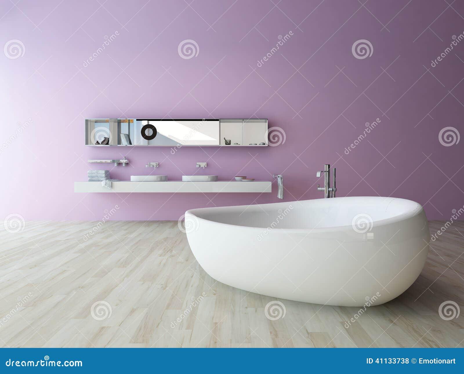 Weisse Badewanne Gegen Violette Wand Stock Abbildung Illustration