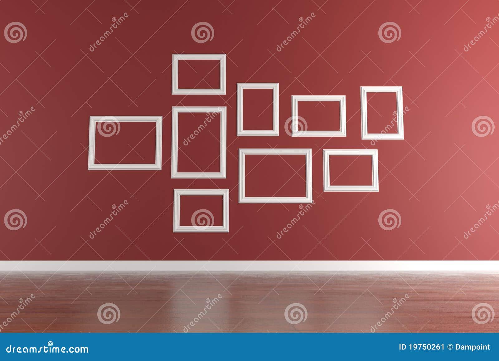 Weiße Bilderrahmen Auf Roter Wand Stock Abbildung - Illustration von ...