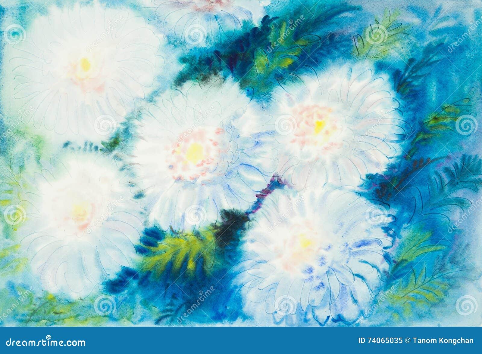 Weiße Farbe der abstrakten Malerei des Aquarells ursprünglichen von chrysanthem blüht