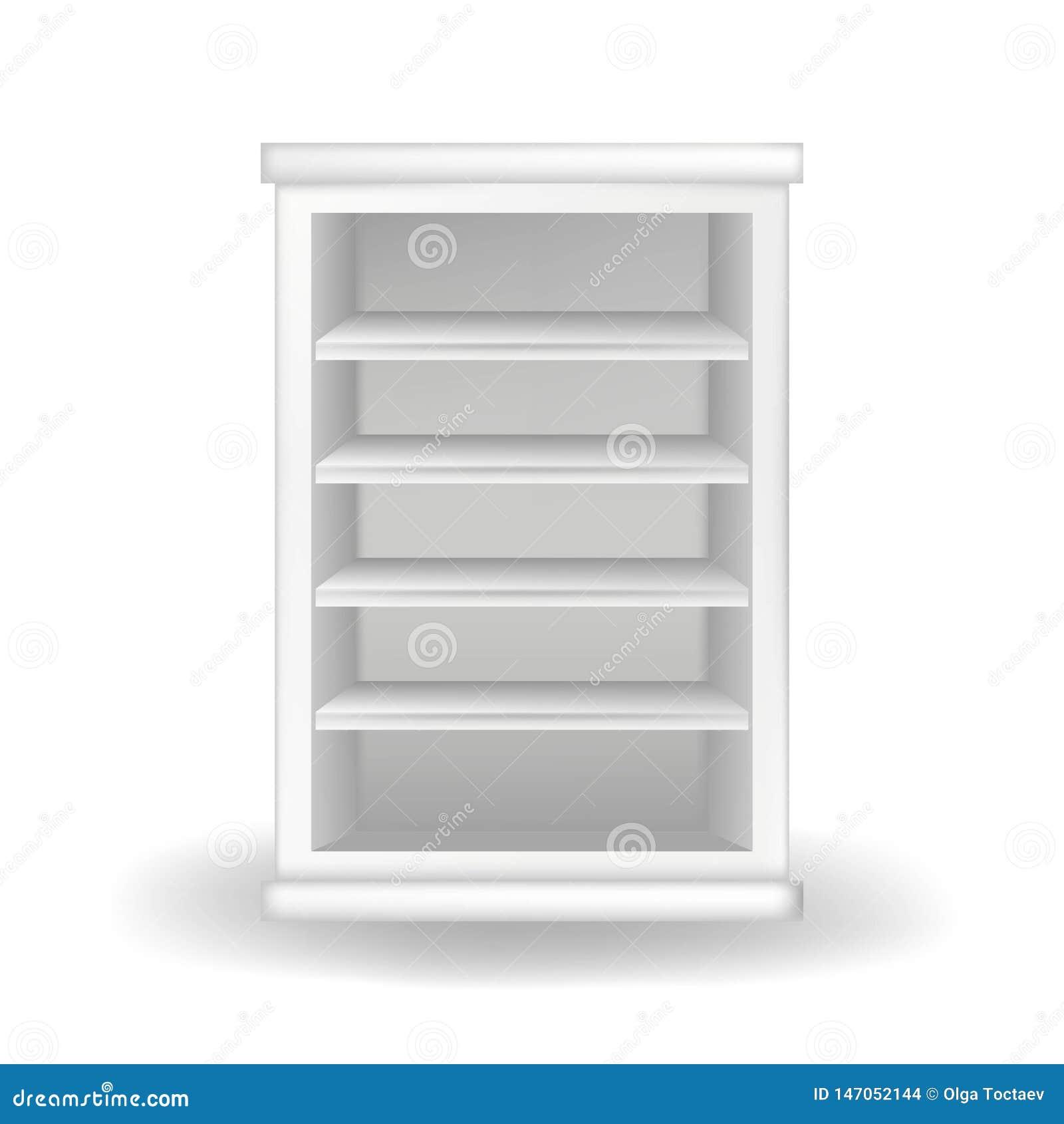 Weiße Garderobe oder Bücherschrank Realistische Vektorillustration mit Schatten auf weißem Hintergrund Moderne M?bel