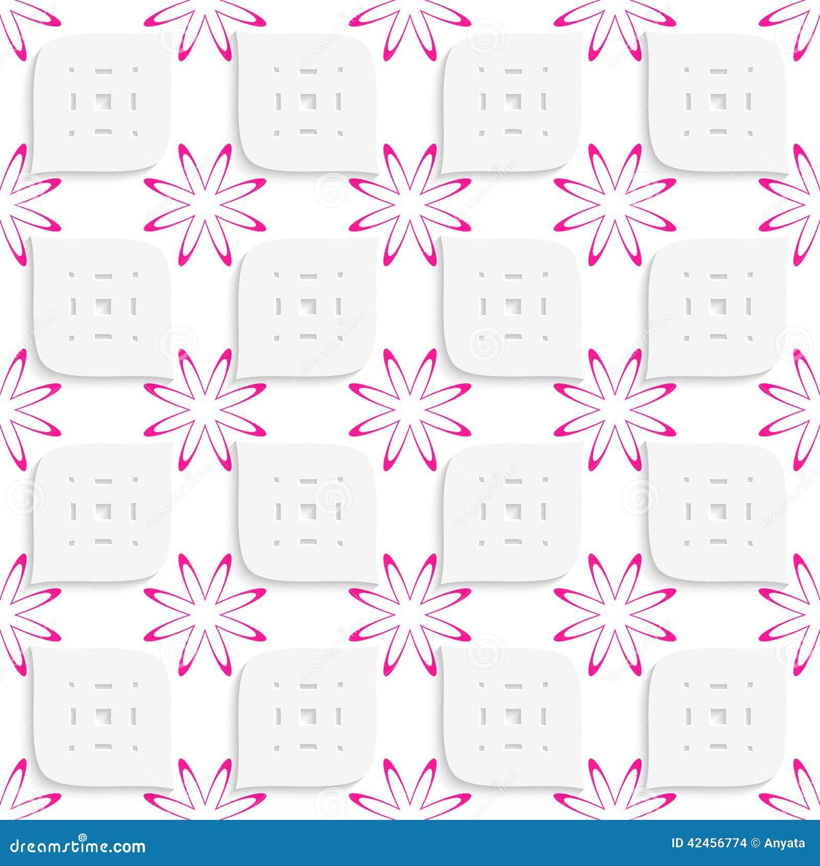 Weiße geometrische perforierte Blätter und rosa Blumen nahtlos
