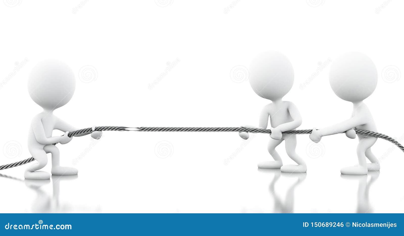 Weiße Geschäftsleute 3d, die das Seil ziehen