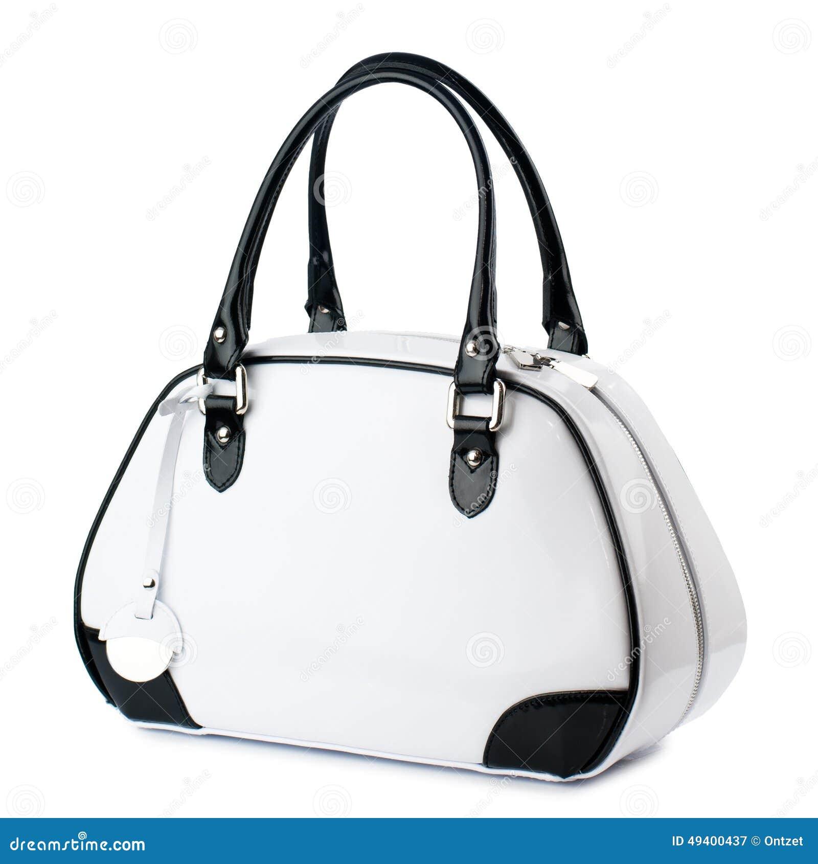 Download Weiße Handtasche Mit Den Schwarzgriffen Lokalisiert Auf Weißem Hintergrund Stockbild - Bild von geschenk, ausschnitt: 49400437