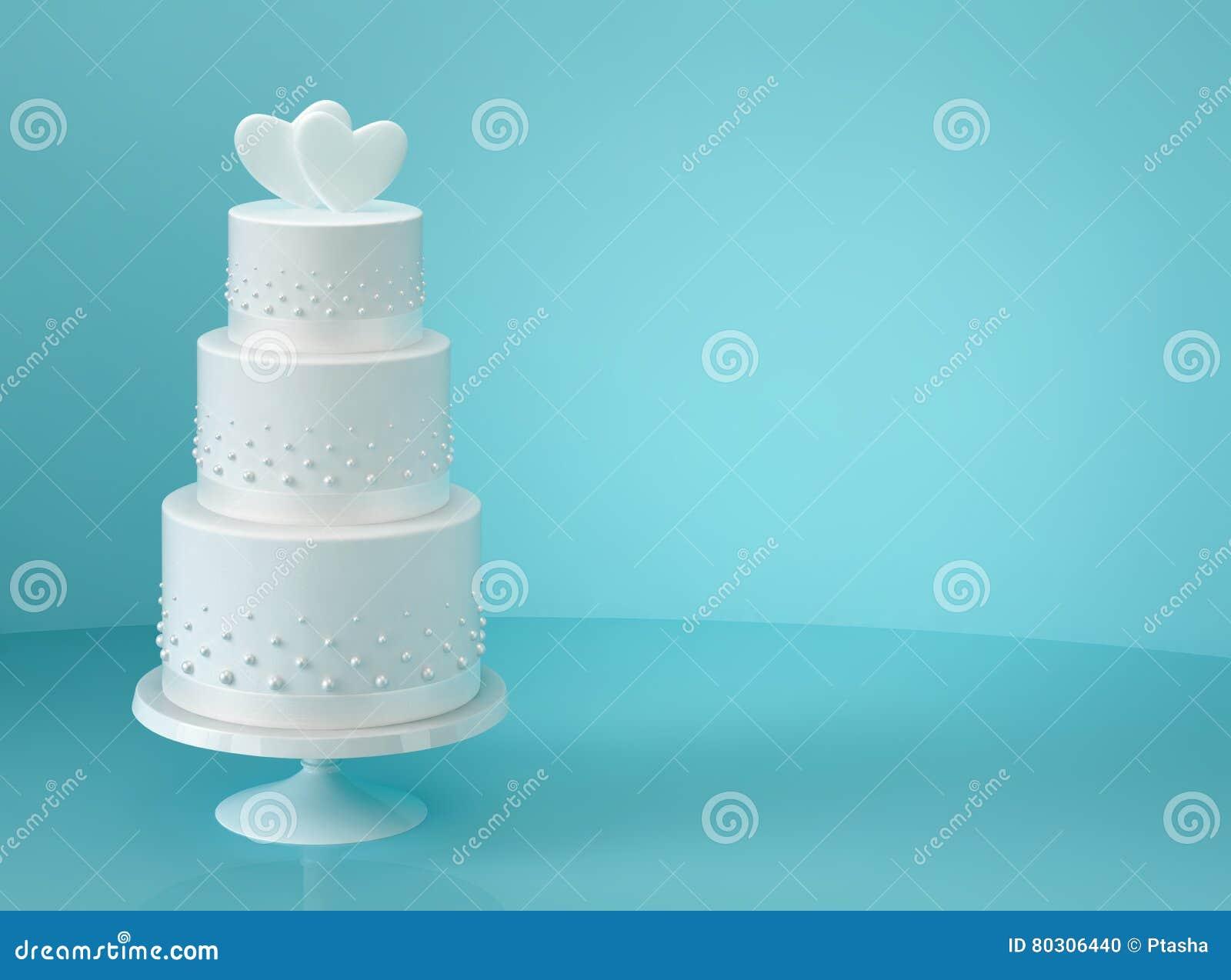 Weisse Hochzeitstorte Mit Zwei Herzen Stock Abbildung Illustration