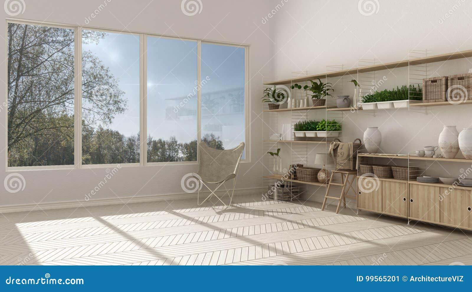 weiße innenarchitektur eco mit hölzernem bücherregal, diy vertikale