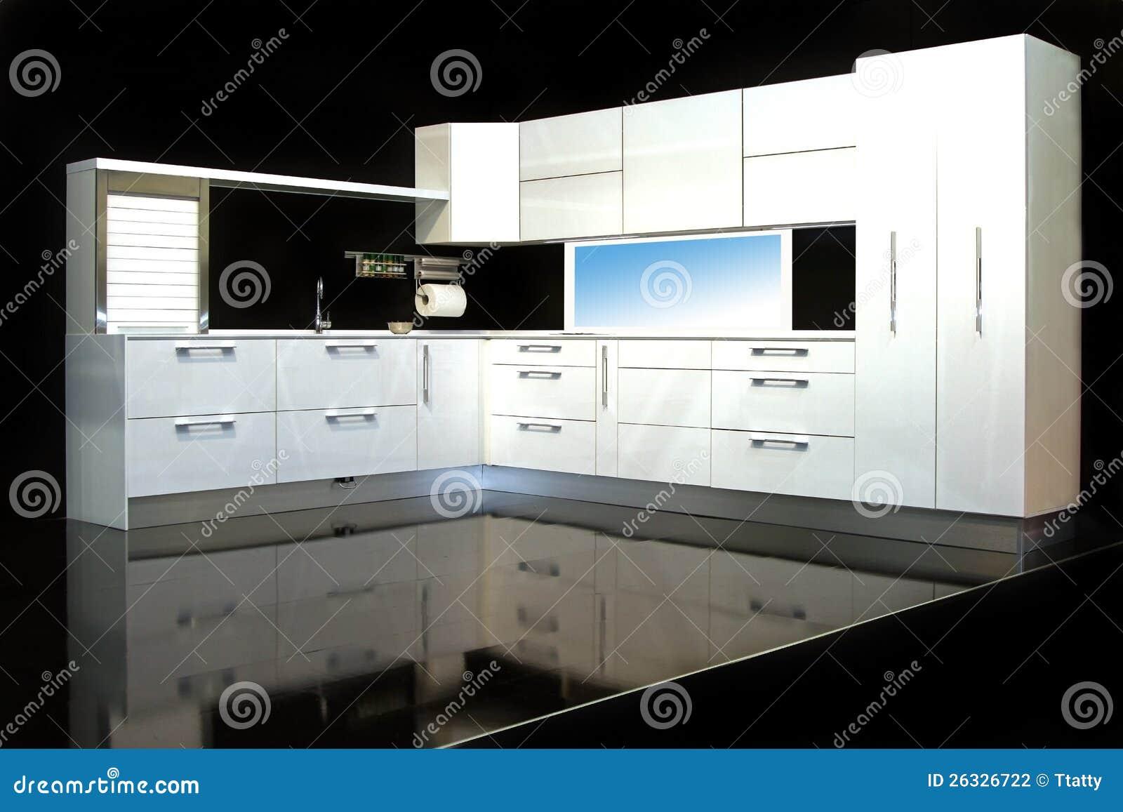 Weiße Küche stockfoto. Bild von schrank, geöffnet, küche - 26326722