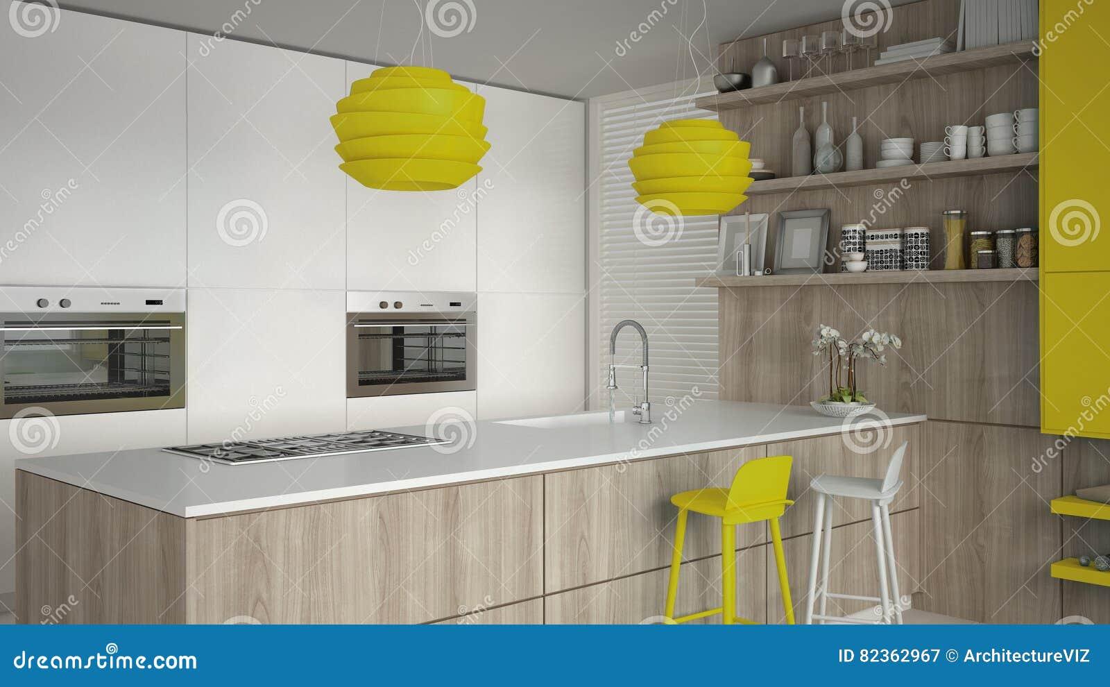 Weiße Küche Minimalistic Mit Den Hölzernen Und Gelben Details, Halbe ...