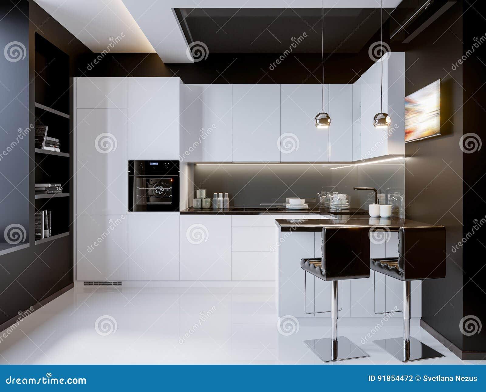 Weiße Kontrast-moderne Küchen-Innenarchitektur Stock Abbildung ...