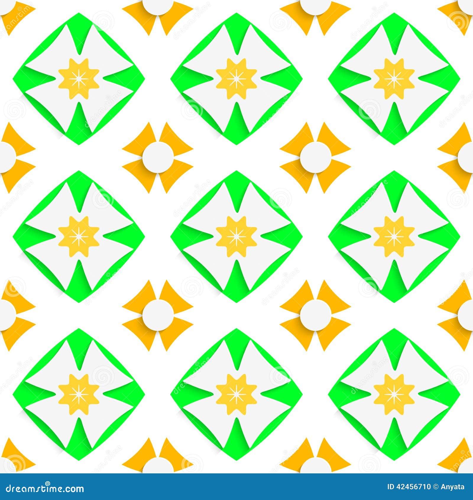 Weiße Kreuze und Grün und Orange