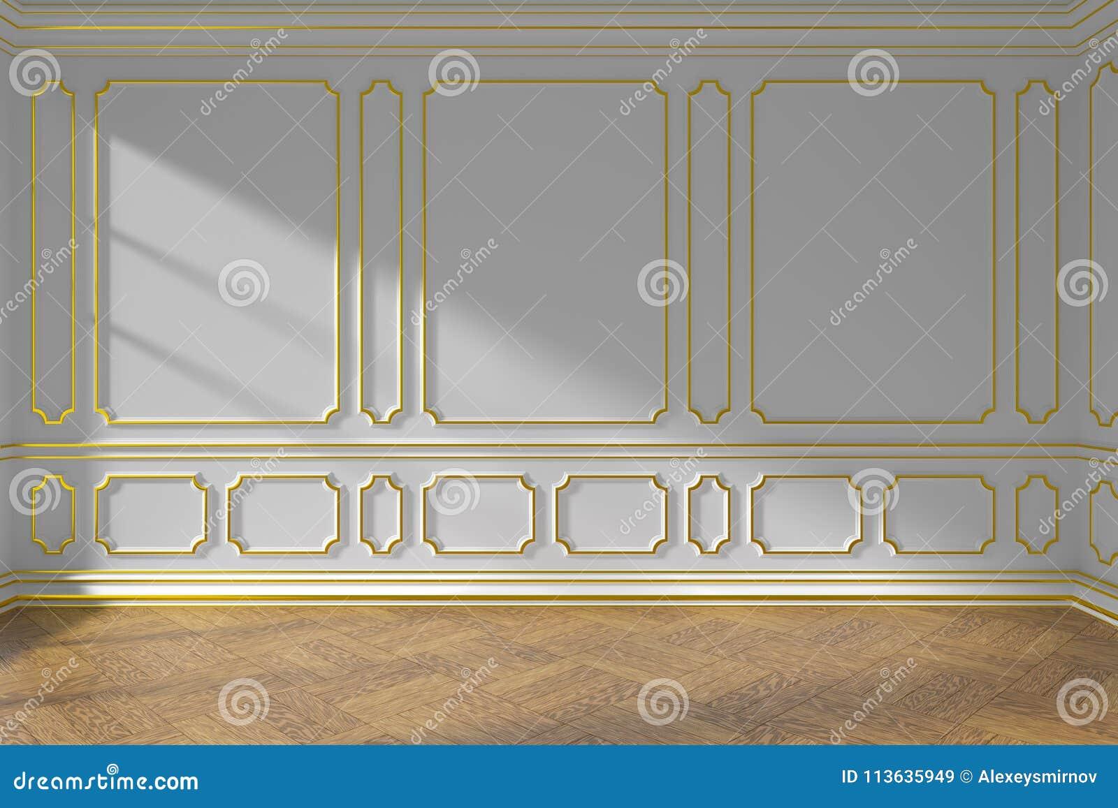 Weiße Leere Raumwand Mit Goldformteil Und -parkett Stock Abbildung ...