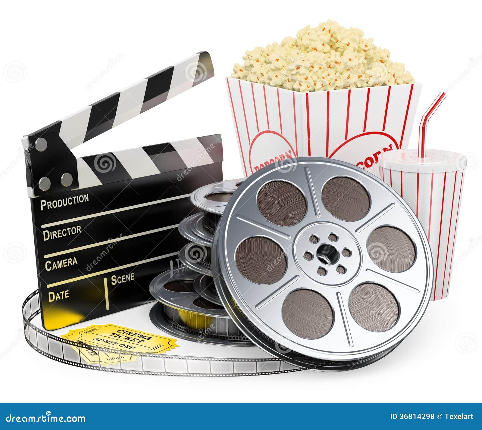 Weiße Leute 3D. Kinoscharnierventilfilmrollegetränk und -popcorn