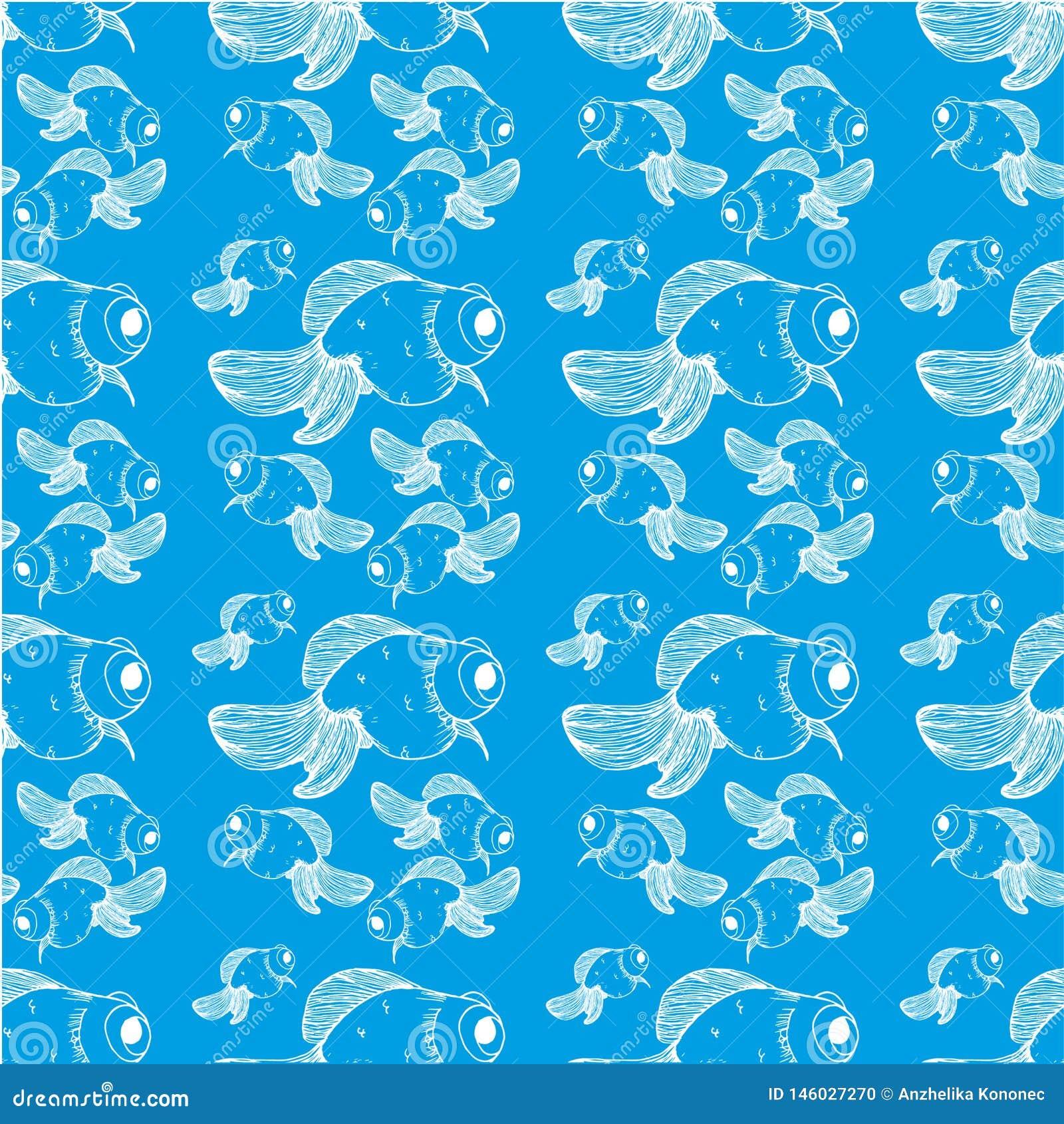 Weiße Linien des Goldfischmusters auf einem blauen Hintergrund