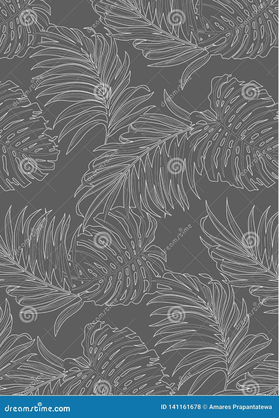Weiße Linien Muster der tropischen Blattmusterart, der flachen Linie Vektor und der Illustration auf dunkelgrauem Hintergrund