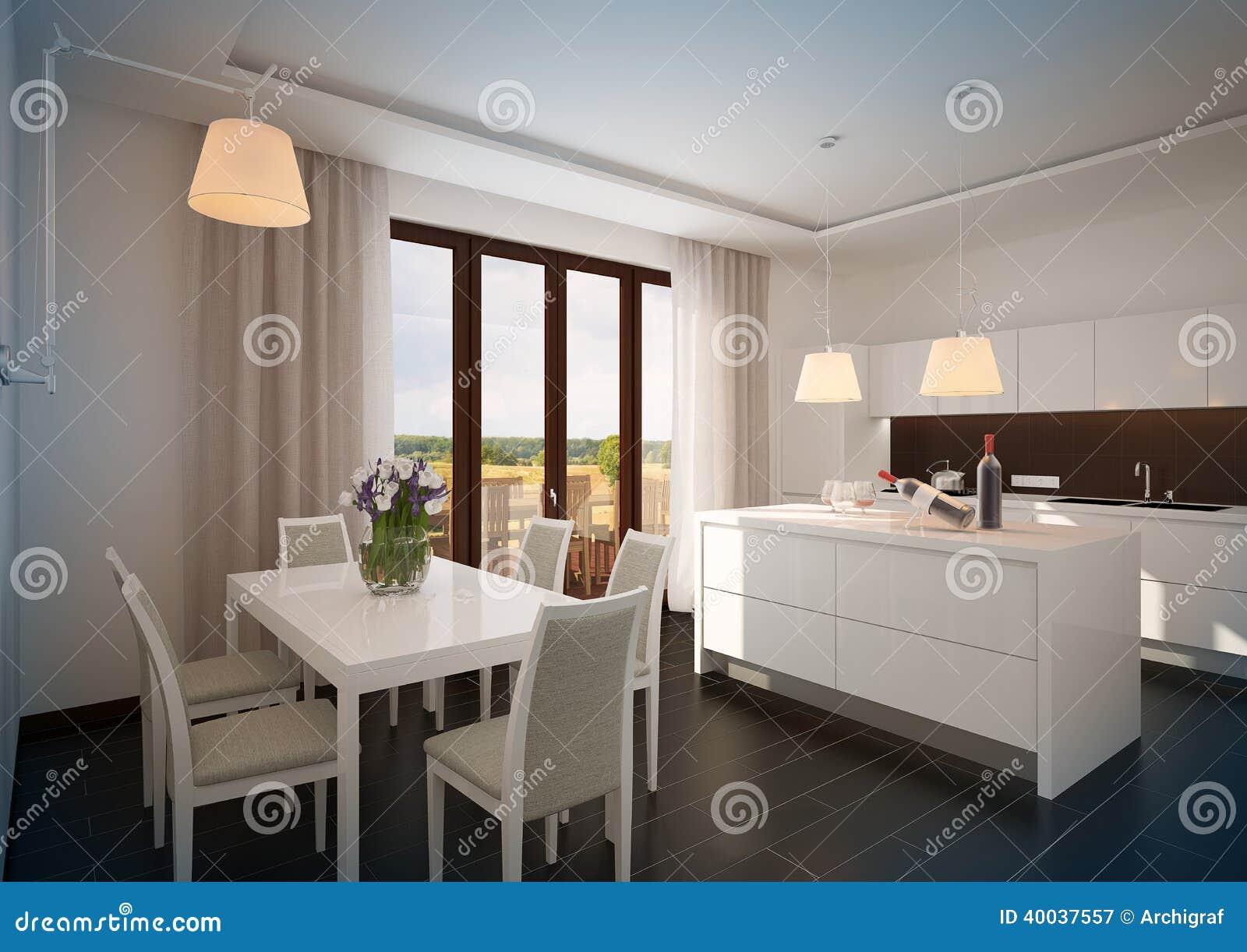 Weiße Luxusküche in einem neuen modernen Haus.