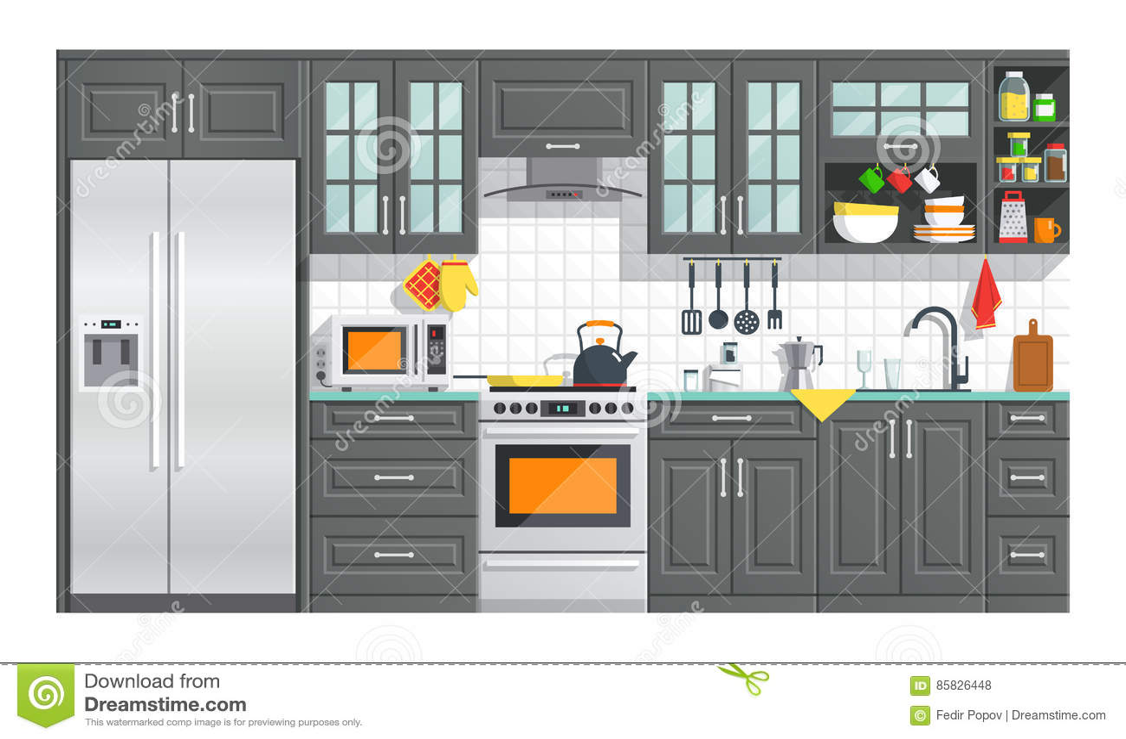 Weisse Mobel Der Kuche Mit Gerateillustration Vektor Abbildung Illustration Von Kuche Weisse 85826448