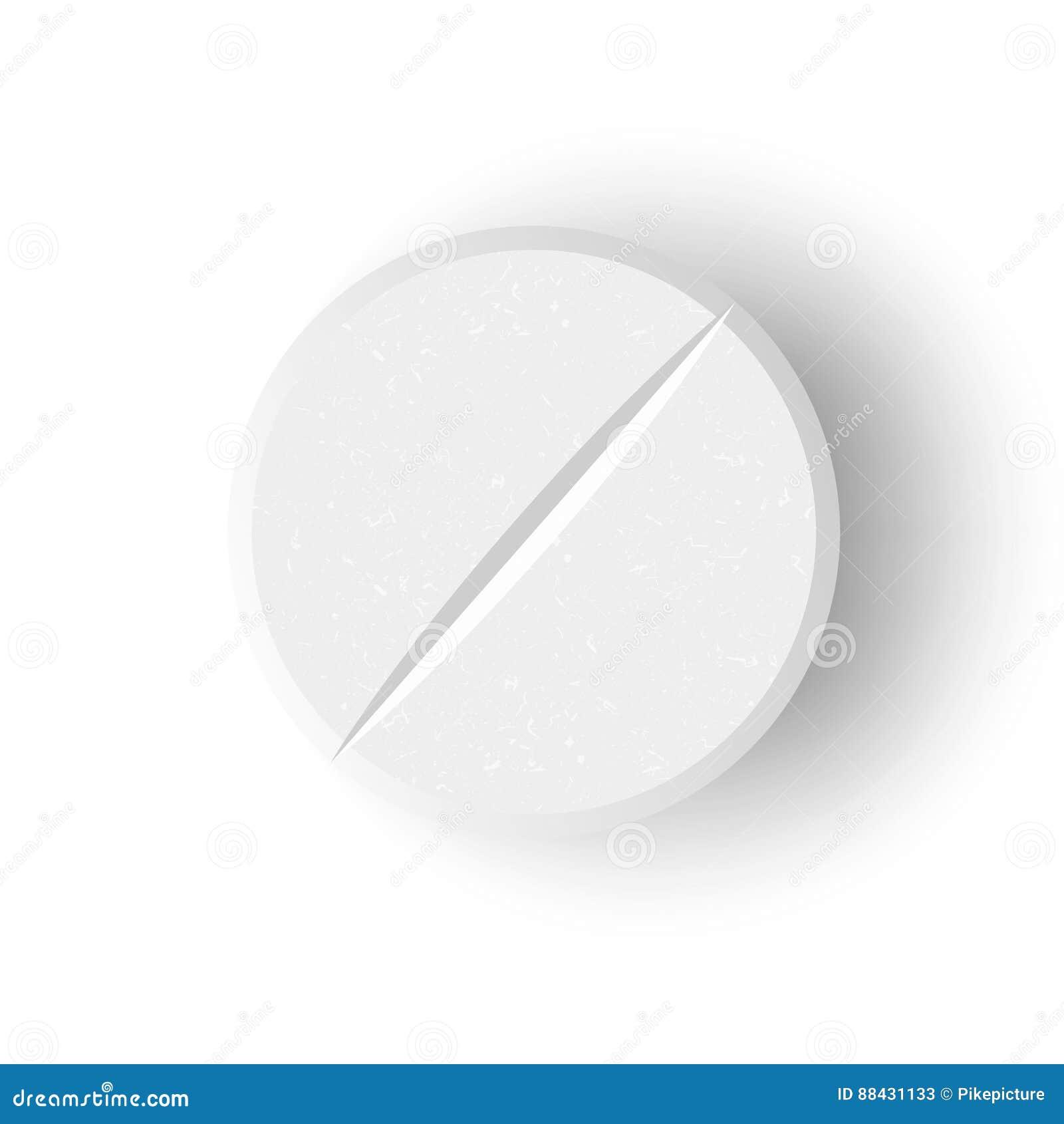 Weiße medizinische Vektor-Illustration der Pillen-3D oder der Droge Realistisches Tablet mit weichem Schatten in Front Isolated O